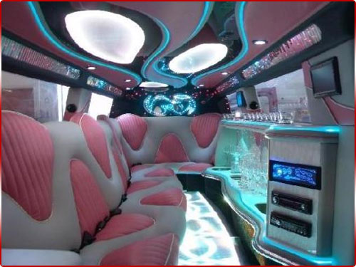 Pink Hummer Limo Interior Our professional chauffeurs are very courteous and